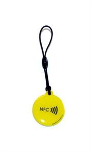 Obrázok pre výrobcu Epoxy keyfob with NFC logo Round shape Lime
